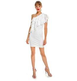 TCEC WHITE EYELASH ONE SHOULDER DRESS