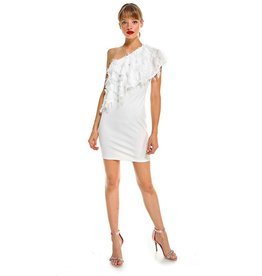 TCEC White eyelash one sohulder dress