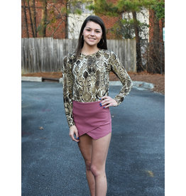 ANIMAL PRINT SIDE KNOT LONG SLEEVE