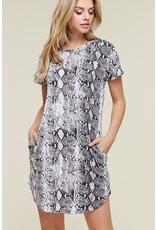 VIAMOR ANIMAL PRINT SHORT SLEEVE SHIRT DRESS