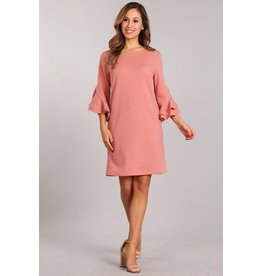 IN-STYLE SOLID SHORT DRESS ROUND NECK AND RUFFLE