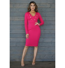 CEFIAN FASHION LSLV V NECK SIX BUTTON DRESS