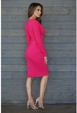 CEFIAN FASHION LSLV V NECK SIX BUTTON DRESS