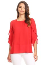 APRIL POLYESTER TWO TIER SLEEVE BLOUSE
