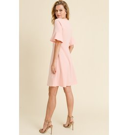 LES AMI SOLID BELL SLEEVE DRESS