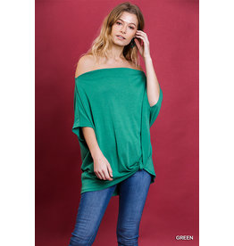 UMGEE BASIC SHORT SLEEVE OFF SHOULDER TOP W/GATHERED FRONT HEM