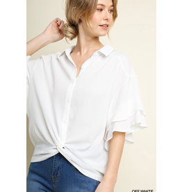 UMGEE COLLARED BUTTON UP GATHERED TOP W/LAYERED RUFFLE SLEEVE