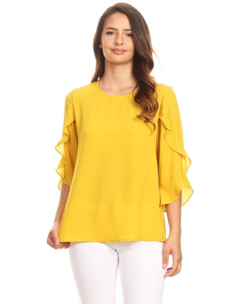 APRIL POLYESTER TWO TIERED SLEEVE BLOUSE