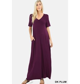 ZENANA V-NECK MAXI W/POCKETS