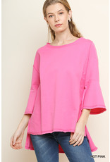 UMGEE BELL SLEEVE TERRY KNIT TOP W/LOW HEM & SIDE SLITS