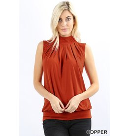 ZENANA SLEEVELESS HIGH NECK TOP W/ WAIST BAND