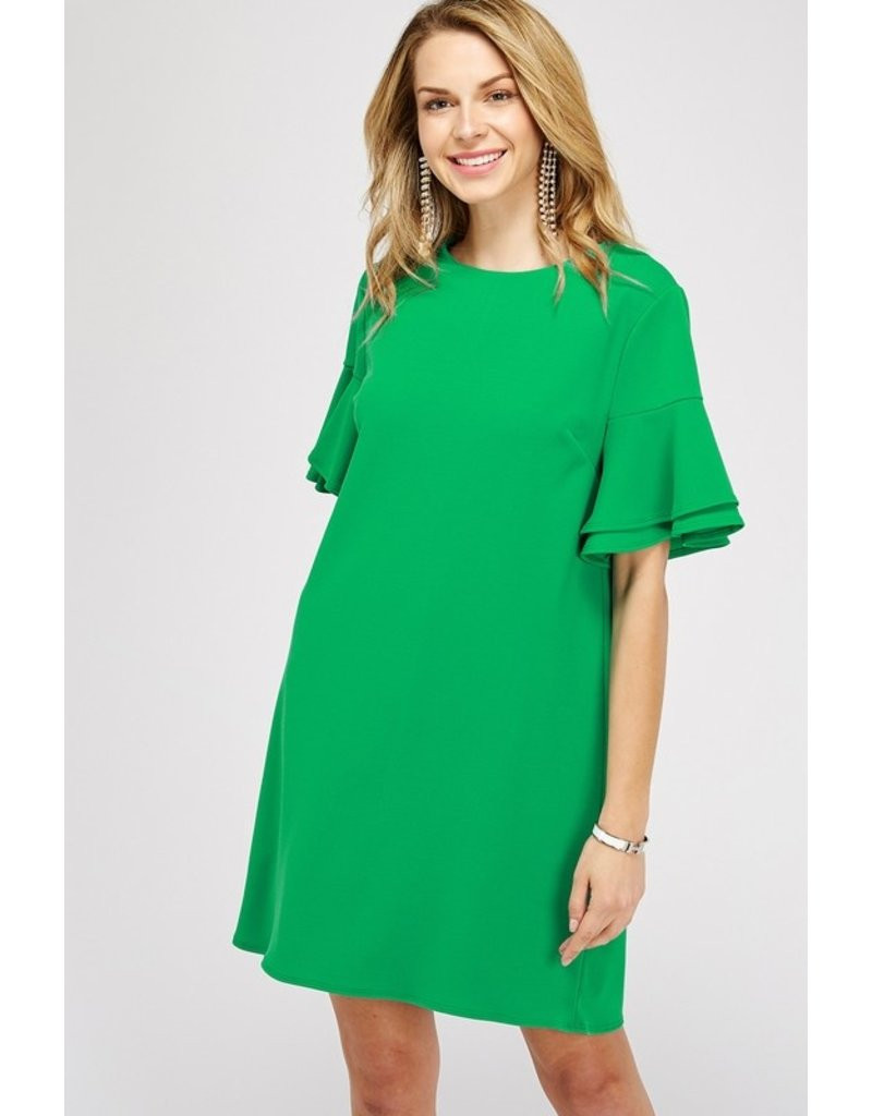 2 HEARTS SOLID DOUBLE RUFFLE BELL SLEEVE DRESS