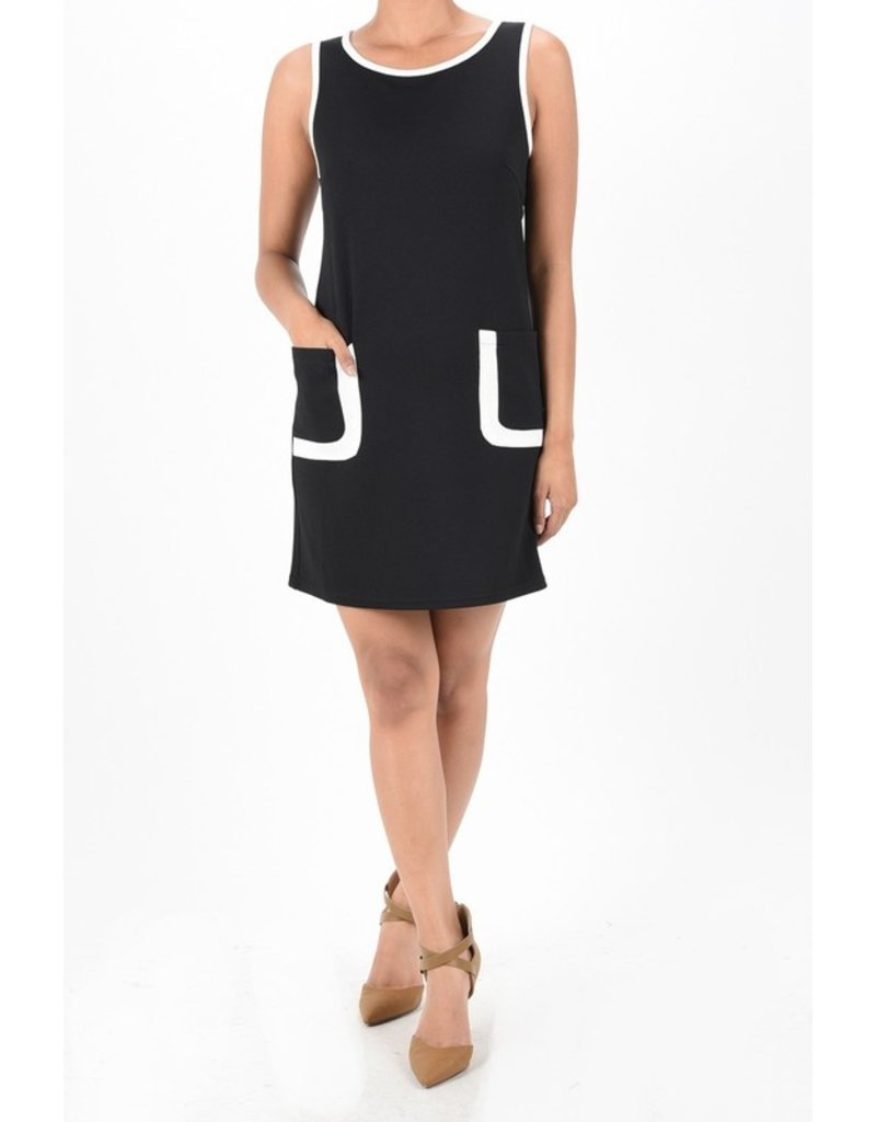 aryeh SLEEVELESS KNIT DRESS WITH FRONT POCKETS