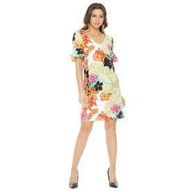 aryeh FLORAL RUFFLE SLEEVE DRESS