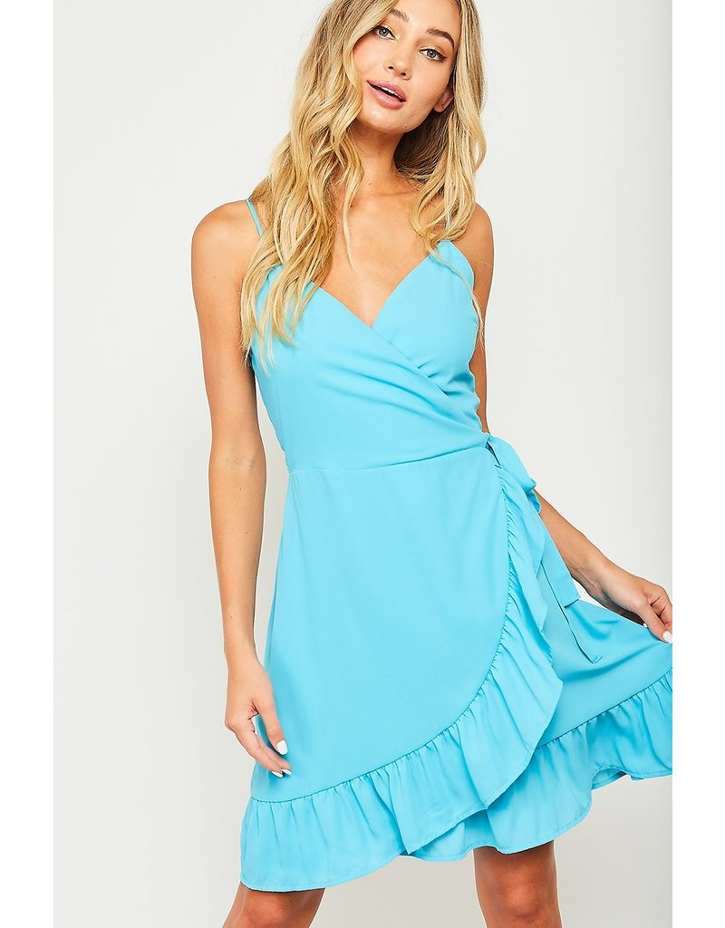 TIE WAIST MINI WRAP DRESS