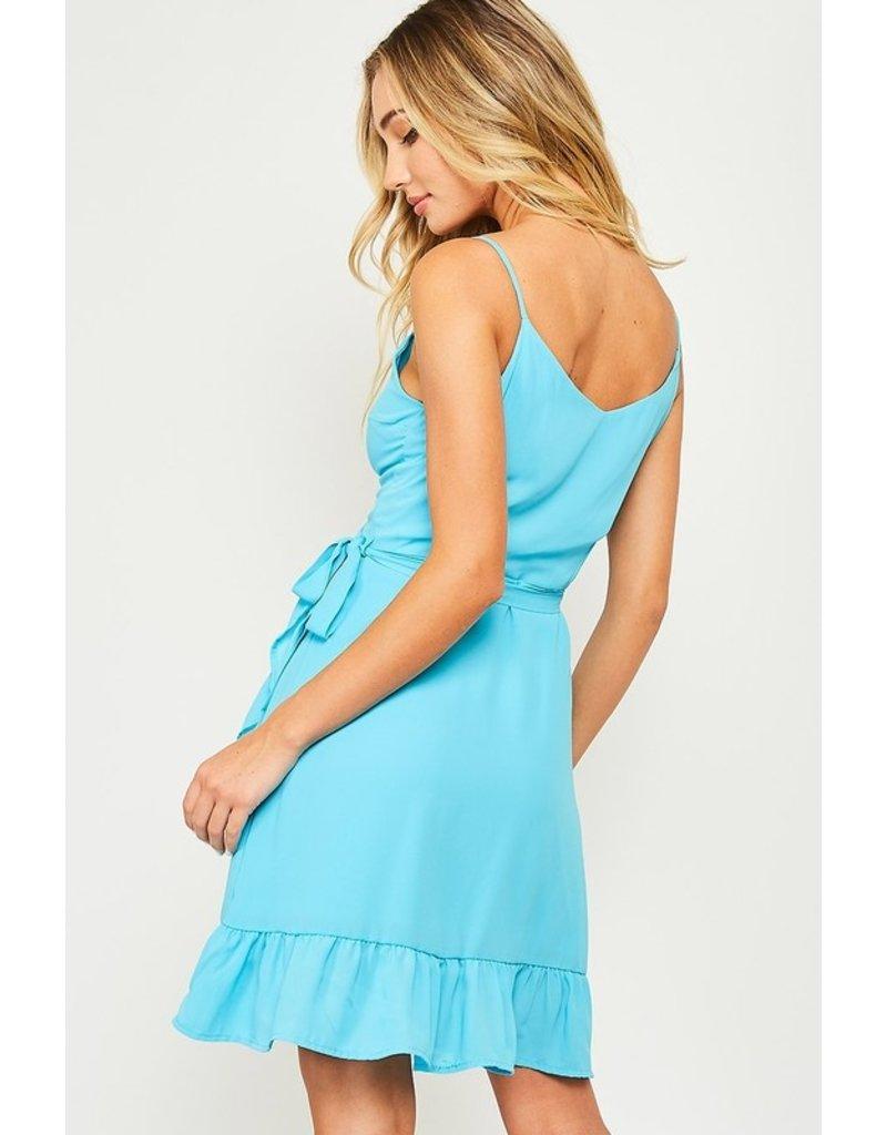 Peach Love Tie waist mini wrap dress