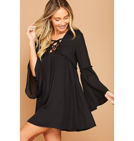 Peach Love Solid long sleeve woven dress with spaghetti