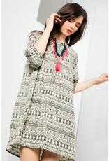 Thml PRINTED EMBROIDERED DRESS W/TRIM