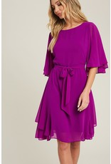 EE:SOME solid round neck half sleeve dress