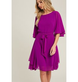 EE:SOME solid round neck half sleeve dress