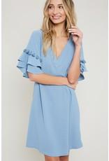 EE:SOME Pom pom tiered sleeve dress