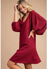 EE:SOME Solid balloon sleeve mini dress