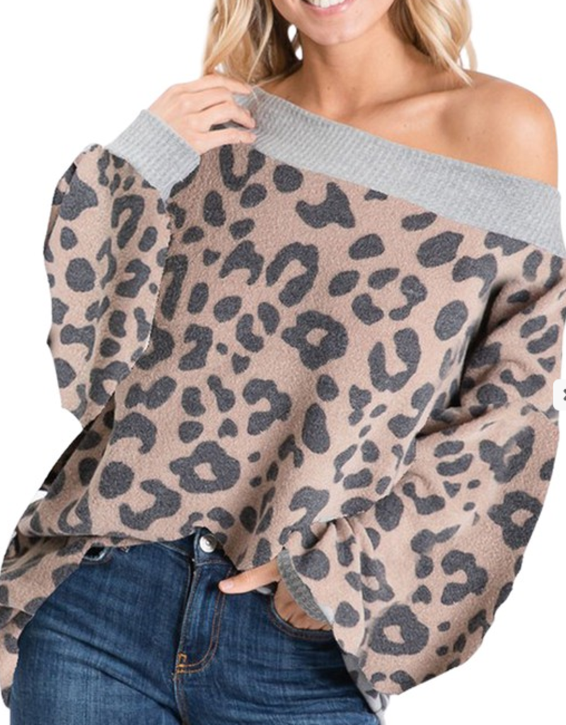 1 Mad Fit Brushed leopard bubble sleeve wide neck top