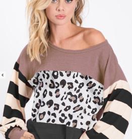 1 Mad Fit Leopard block print knit top