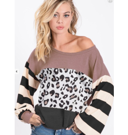 1 Mad Fit Leopard block print knit top
