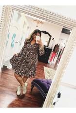 143 STORY Black leopard print babydoll dress