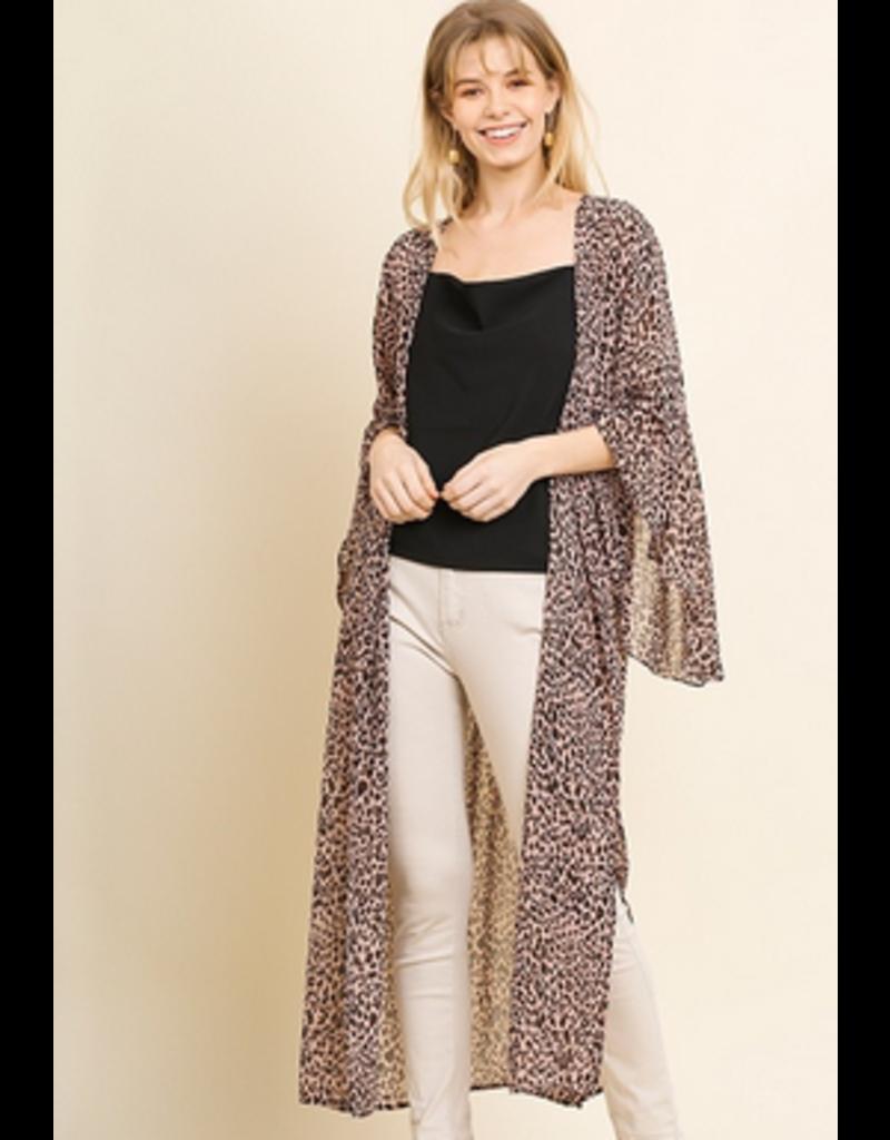 UMGEE Sheer animal print angel sleeve long open front kimno