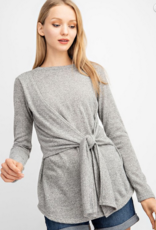 143 STORY Gray long sleeve tie front top
