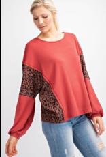 143 STORY Marsala woven long sleeve leopard contrast top