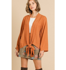 UMGEE Pumpkin bell sleeve knit front tie cardigan