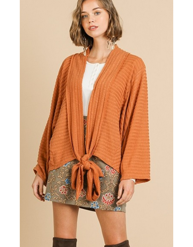 UMGEE Pumpkin bell sleeve knit front tie cardigan