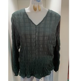 UMGEE Forest crinkle fabric long puff sleeves v neck top