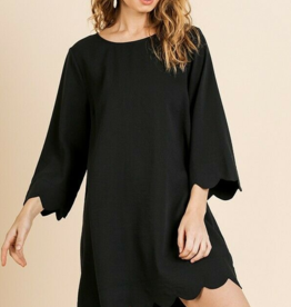 Black scallop trim long sleeve round neck dress