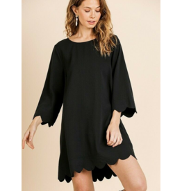 UMGEE Black scallop trim long sleeve round neck dress