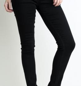 Black stretch 5 pocket mid rise skinny jeans