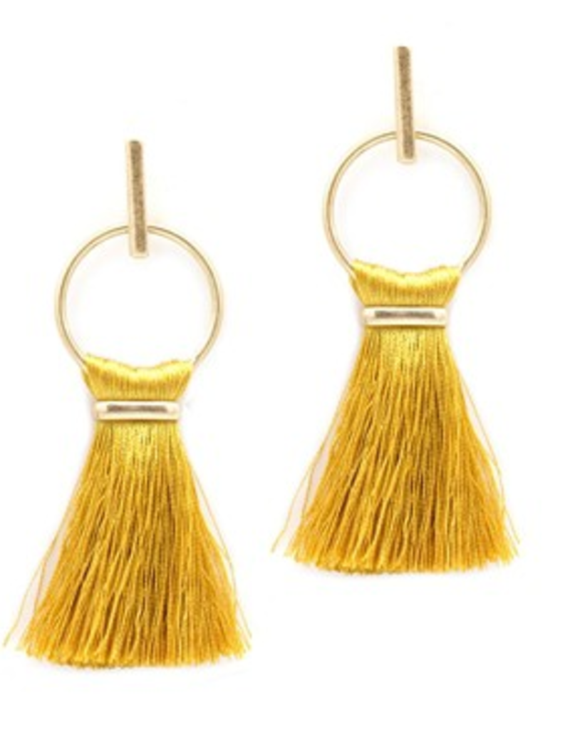 WHAT'S HOT JEWELRY Tassel and gold hoop earring