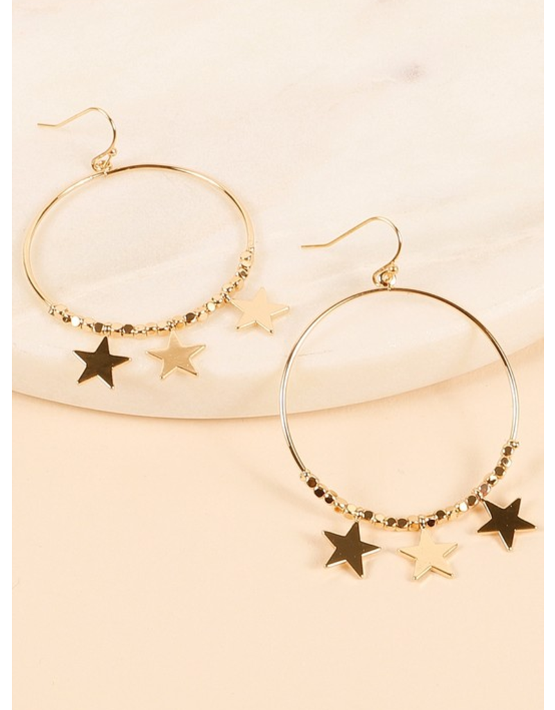 Avenue Zoe Round metal earrings with stars