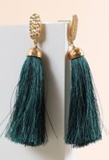 Avenue Zoe Dangling earrings with hammered metal stud and tassels