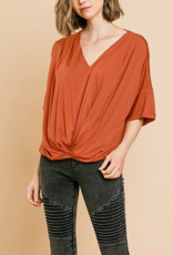 UMGEE Short bell sleeve basic v-neck top with gathered front detail