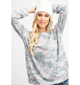 143 STORY Heather grey and blush camo soft brushed top