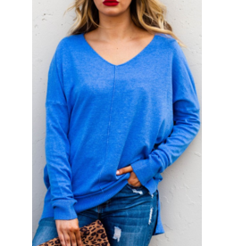 AND THE WHY Super soft v neck slit sides sweater