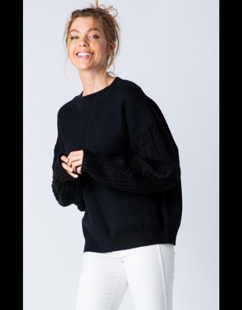 Trend Shop cable sleeve sweatshirt
