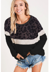 BIBI Mix match color french terry wide neck sweatshirt
