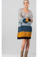 BY TOGETHER Chuncky knit color block sweater dress
