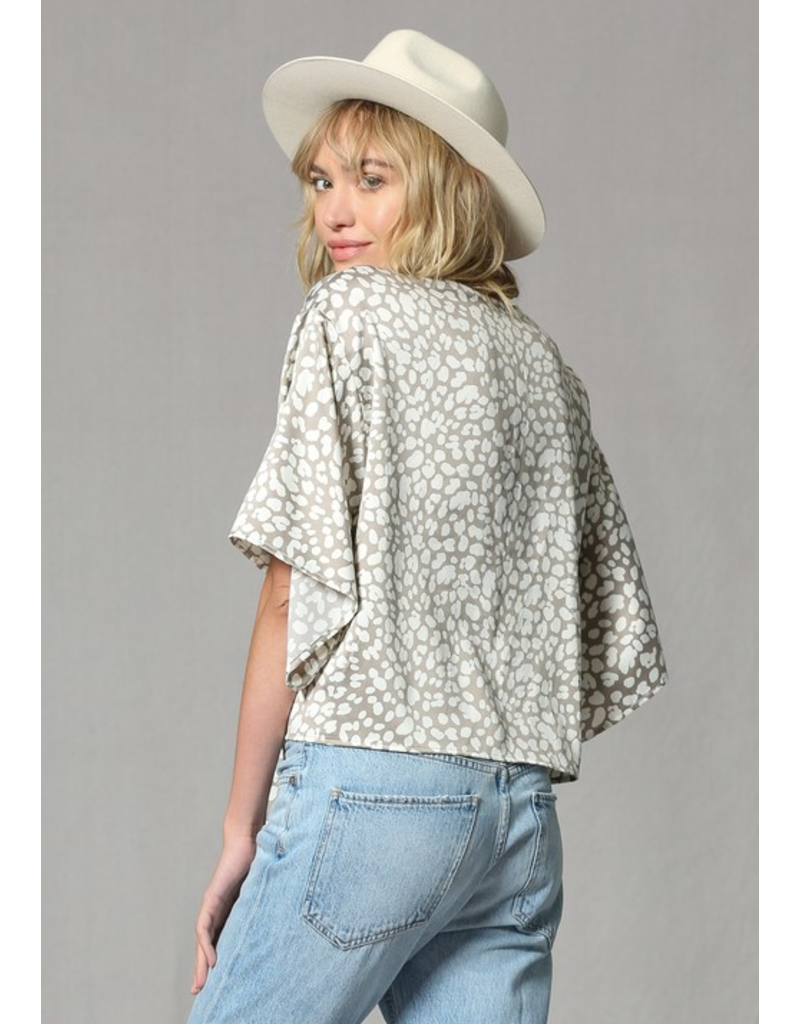 BY TOGETHER Butter satin cloud like leopard print tie front top