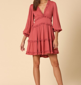 BY TOGETHER Fiesta ruffled detail v neck long sleeve dress